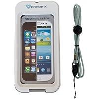 Armor-X Étui pour iPhone 5 et Samsung Galaxy S 3 imperméable et résistant aux impacts avec prise pour écouteurs et sangle Blanc