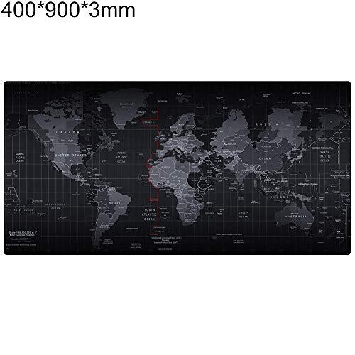 obiqngwi für elektronische Wettkampfsportarten, Große Weltkarte Gedruckt 3mm Gummibasis Anti-Rutsch-Tastatur Mauspad Tischset - 400mm x 900mm x 3mm - Logitech Maus Wireless M310