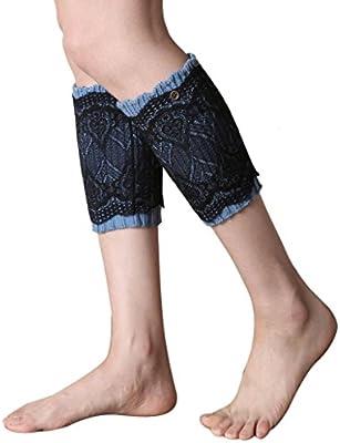 FAMILIZO Mujeres Doble Encaje Breve Párrafo calentadores de la pierna Calcetines cubierta de arranque