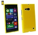 Emartbuy Nokia Lumia 735/Lumia 730 Dual Sim Pellicola Protettiva And Shiny Lustroso TPU Gel Funda Carcasa Case Cover Amarillo