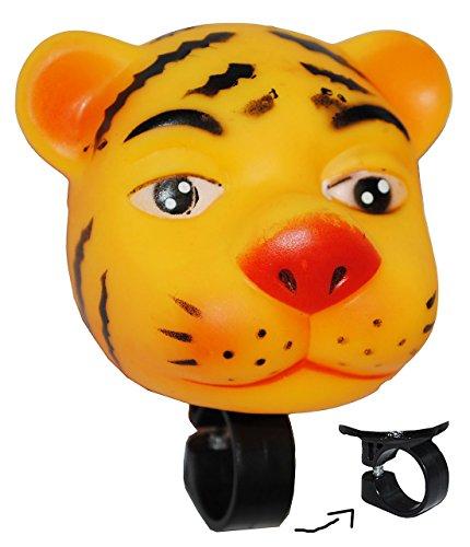 Fahrradhupe / Fahrradklingel - Tiger - Fahrrad für Kinder - passend für alle Größen - bunt Kinderglocke - Mädchen & Jungen - Tier Lenkerhupe - Tier / Quietscher - Quietschtier - Tierfigur / Ballhupe