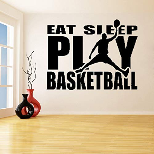 ljradj Eat Sleep Play Basketball with A Man Wall Stickers for Kids Teen Bedroom Home Decor Vinyl Decals Car Window Bumper Art  42X50cm Dodge Car Stereo