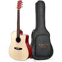 Guitarra Acústica, Hricane Guitarra Clásica 41 Pulgadas Acabado Mate con Cuerda de Metal, Bolsillo Exterior y Cuerdas de Repuesto para llevar fácil (Dreadnought,Color Natural)