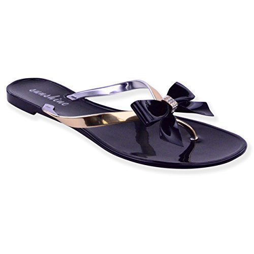 WOMENS LADIES SUMMER DIAMANTE TOE BOW JELLY SUMMER FLAT FLIP FLOP THONG SANDALS SIZE