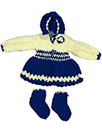 CutiePie Collections Handmade Hooded Sweater Cum Frock and Socks (0-6 Month Baby Girl)