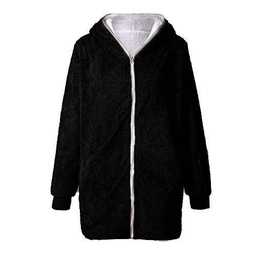 LEXUPE Solide Oversized Zip Down Hooded Flauschiger Mantel Strickjacken Outwear mit Tasche(Schwarz,Medium) (Hooded Mantel Männer Down)