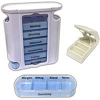 Preisvergleich für Pillenbox 7 Tage + Pillenteiler | Pillendose | Tablettenbox | Tablettenteiler