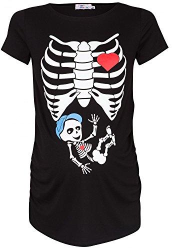 nge Skelett Druck T-Shirt Top Tee Oberteil Schwangere. 505p (Schwarz, EU 36/38) (Skelett Schwangerschaft Top)