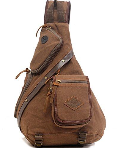 ueasy Brust Pack Crossbody Tasche Vintage Canvas Schulter Sling Bag Messenger Bag, Armee-Grün (Grün) - BBPHF Kaffee