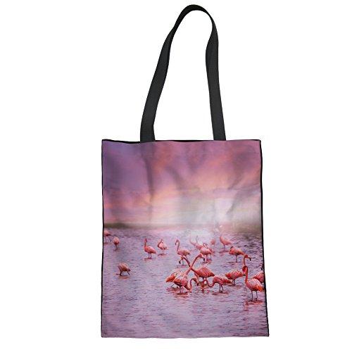 (New Flamingo Handtasche Segeltuch Schulter-Pink, Lebensmittel, für Damen/Mädchen, canvas, Flamingo-4, Einheitsgröße)