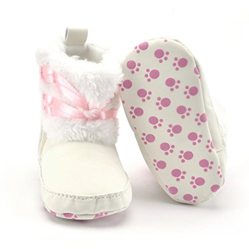 Baby Girl Infant Boots Warm-Kleinkind -Winter-Schuhe Prewalker (S: 0-6 Monate, Weiß) Weiß