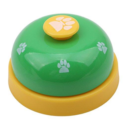 joyfree Hund Training Bell Pet Tischglocke Call Bell Katze Spielzeug Hundespielzeug Tisch Bell Food Kitchen Restaurant Bar Rezeption Bell, Green + Yellow Button, Größe -