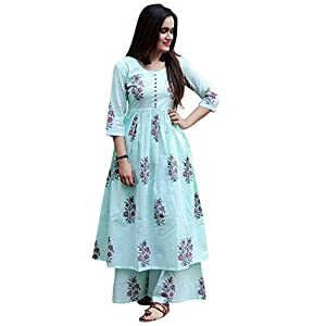 Marlin Women's Cotton Kurti with Palazzo (Sea Green, Large)