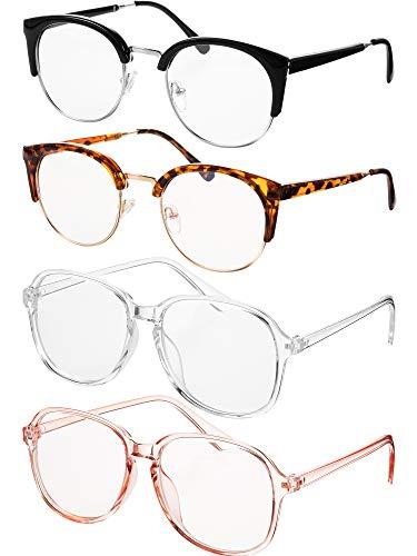 4 Stücke Klar Linse Brille Mode Klar Rahmen Brillen für Männer und Damen Stilvoll Gold Halbe Rahmen und Quadrat (Farbe A)