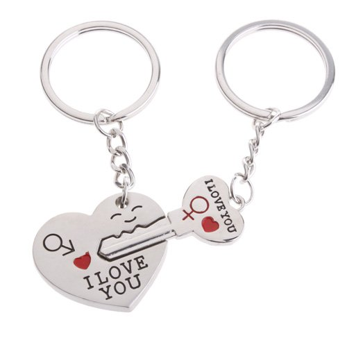ODETOJOY Schlüssel Zum Herz Puzzle Schlüsselanhänger für Paar Liebhaber Schlüsselanhänger Haken Edelstahl Schlüsselhalter