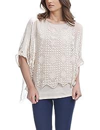 Laura Moretti - Blusa de seda con detalles bordados