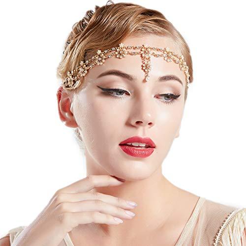 1920er Jahre Kostüm Gold - Coucoland 1920s Stirnband Damen Gatsby Accessoires Retro Stirnkette 20er Jahre Haarband Kopfschmuck Fasching Kostüm Zubehör (Gold)