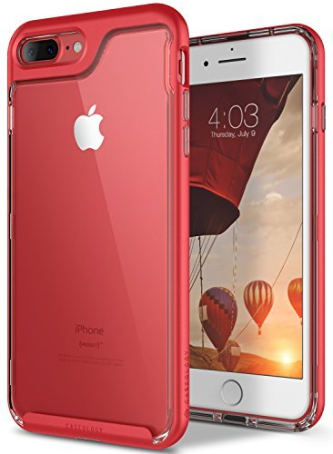 Funda iPhone 8 Plus, Funda iPhone 7 Plus, Caseology [serie Skyfall] cubierta protectora transparentee clara delgada antiaranazos con marco protector [Rojo - Red] para Apple iPhone 7 Plus (2016) / iPhone 8 Plus (2017)
