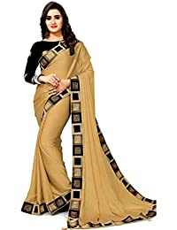 Pramukh Fashion Women's Georgette Saree (New Cream, Multicolour, Free Size)