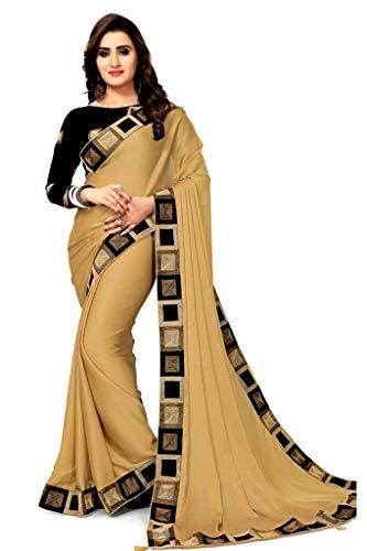 Pramukh Fashion Women\'s Georgette Saree (New Cream, Multicolour, Free Size)
