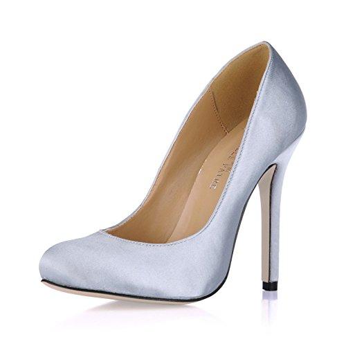 Il gusto la molla a testa circolare di fine ed alta scarpe tacco verniciato nero scarpe in pelle . Black Pearl
