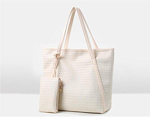 Bing Art und Weise PU-Leder-Woven-Handtasche + Geldbeutel-Taschen-Tasche meters white