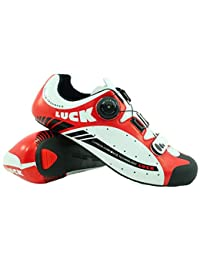 LUCK Zapatillas de Ciclismo para Carretera Plus, con Suela de Carbono y Sistema rotativo de precisión. (41 EU, Rojo)