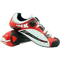 LUCK Zapatillas de Ciclismo para Carretera Plus, con Suela de Carbono y Sistema rotativo de precisión. (42 EU, Rojo)