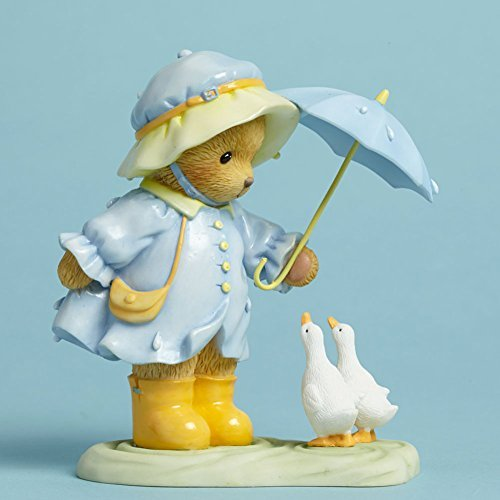 Cherished Teddies Rainbow Weather Brings Us Together Bear in the Rain Figurine by Cherished Teddies
