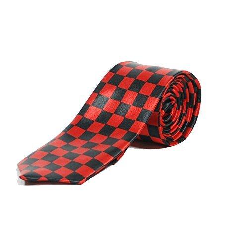 Cravatte Mince SKA à Carreaux - Noir et Rouge