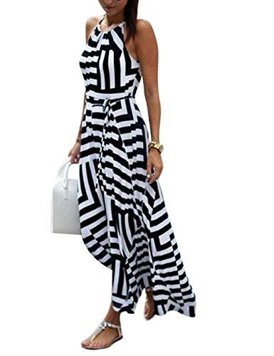 Lamore Klassisches Damen Ärmelloses Halter Langes Streifen Stretch Strandkleid Sommer weiches Kleid Schwarz mit Weiß(S-XL)