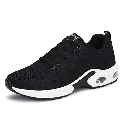 Zapatillas Deportivas de Mujer Air Cordones Zapatillas de Running Fitness Sneakers 4cm Negro Rojo Rosado Púrpura Negro 40