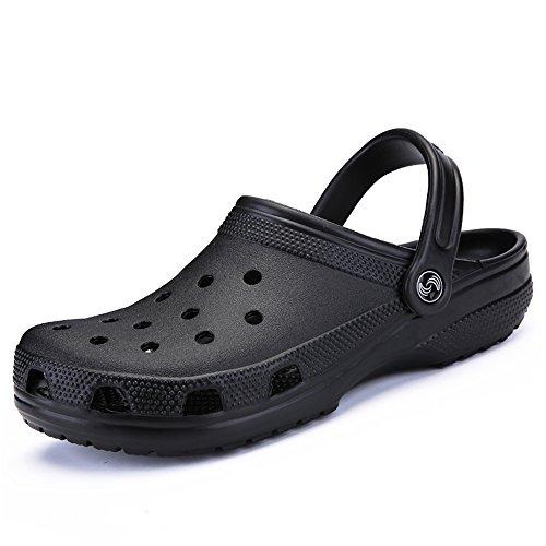RDJM Unisex Classic Clog Garten Clogs Schuhe Sandalen Hausschuhe,Black,42 - Schwarze Folien Clogs