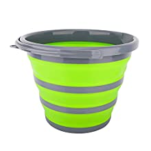 Housolution Folding Bucket, 2.65Gal/10L Portable Collapsible Bucket Water Basin Container for Hiking Camping Fishing Travelling Gardening Outdoor Use, Gray + Green