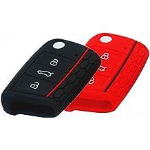 BluePony Seat León 5F - Funda para llave, color negro y rojo, 2 unidades