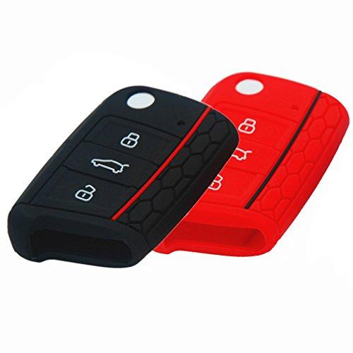 bluepony-seat-leon-5f-funda-para-llave-color-negro-y-rojo-2-unidades