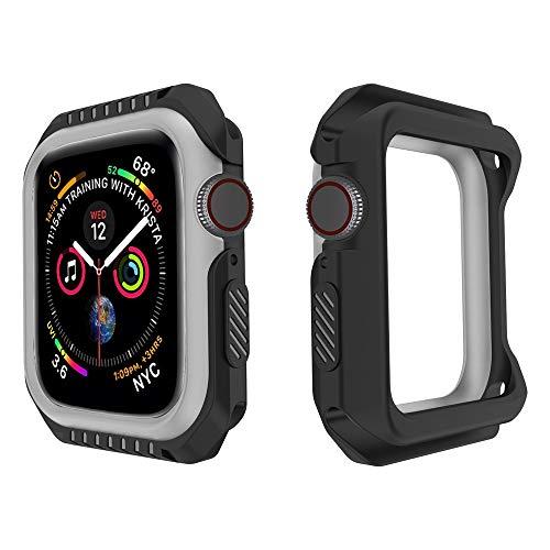 Vamoro Weiche Silikon 2 in 1 Zwei-Ton Stoßfänger Hülle Weiche Ultradünne TPU Schutzhülle Rundherum Schutz Schlankes Case für Apple Watch Serie 4 44MM(E)