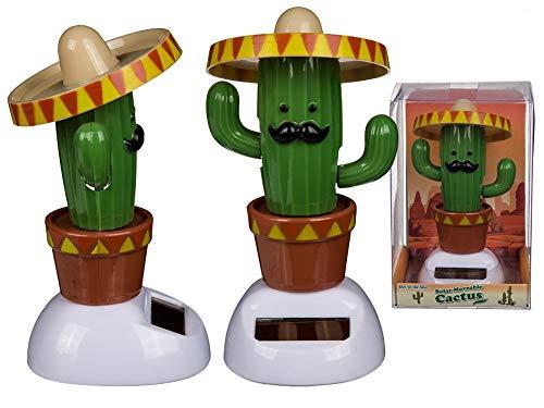 OOTB 48x Solar Wackelfigur Kaktus mit Sombrero 11cm aus Kunststoff Solar Sombrero