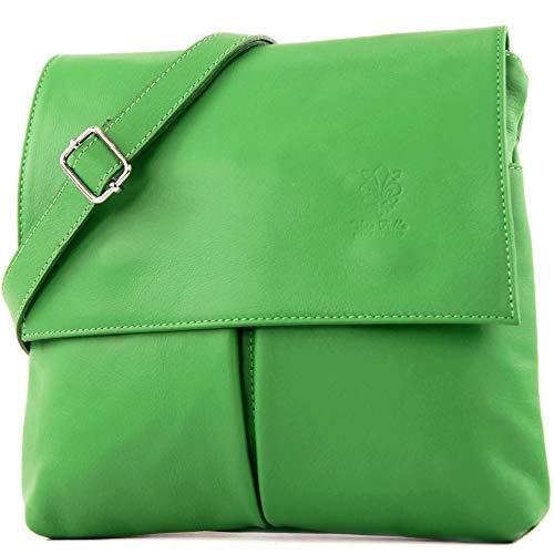 modamoda de - T63 - ital Umhänge-/Schultertasche Nappaleder, Farbe:Grün Grüne Tasche