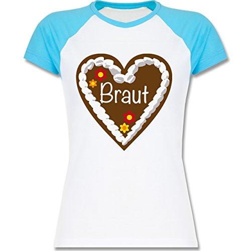 Shirtracer JGA Junggesellinnenabschied - Lebkuchenherz Braut - Zweifarbiges Baseballshirt/Raglan T-Shirt für Damen Weiß/Türkis