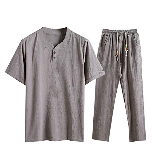 CuteRose Men's Big Tall V-Neck Cozy Chinese Style Pants with Tops Sets Grey XL (Big Womens Tall And)