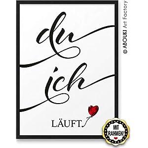 DU ICH läuft ABOUKI Kunstdruck Geschenk-Idee Hochzeit Verlobung Jahrestag Weihnachten für Sie Ihn Frauen Männer inklusive schwarzem Holz-Rahmen A4