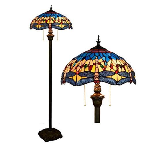 tyle Stehleuchte Blaue stehende Beleuchtung des Buntglas-Libellen-Tabellen-Schreibtischs für Schlafzimmer Lesebeleuchtung, Fußschalter, E27 × 2,40W (40 * 162CM) ()
