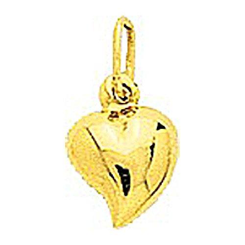 So Chic Schmuck - Damen-Kettenanhänger Bombiertes Gebogenes Herz 7 mm - Gelbgold 750/000 (18 Karat) (Bund Relief)