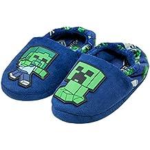 Minecraft Creeper vs Zombie Boys Blue Slipper Zapatillas de casa para niños