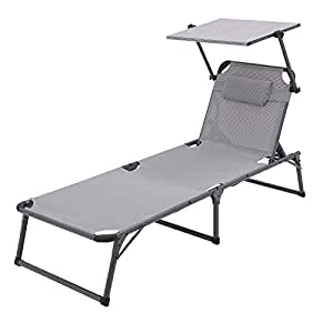 songmics folding sun lounger aluminium rustproof. Black Bedroom Furniture Sets. Home Design Ideas