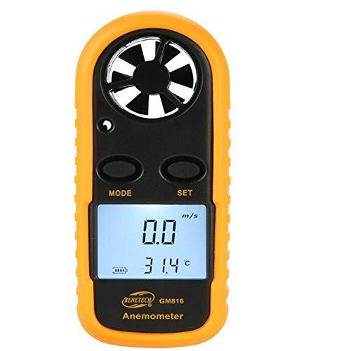 Omiky® Draussen Windmesser,Digital Windmesser Windmessgerät Anemometer Thermometer für Windgeschwindigkeitsmesser Lufttemperatur (Schwarz)