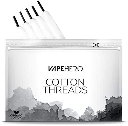 VapeHero® Cotton Threads | Extra Lange Vape Watte | 20er Pack | 2 Meter / 40 Wicklungen | Zum Wickeln für Verdampfer 4mm Coil -