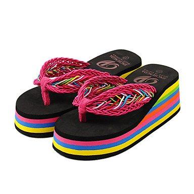 zhENfu Scarpe donna PVC tacco piatto infradito pantofole per esterno nero / blu / Marrone / rosso Brown