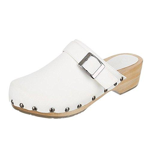 Chaussures pour enfants, JL de 161–1, Sandales sabots mules à talons avec déco Blanc - Weiß 1
